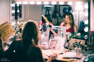 Christy Altomare opens fanmail in her dressing room at the Broadhurst Theatre