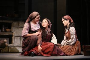 Melanie Moore, Alexandra Silber and Samantha Massell in Fiddler on the Roof on Broadway