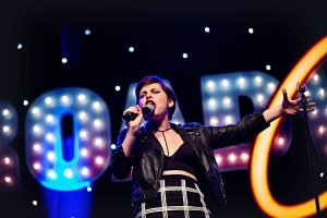 Krysta Rodriguez performs on the BroadwayCon MainStage